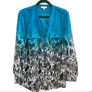Calvin Klein Blue Ombré and Snake Skin Print Top